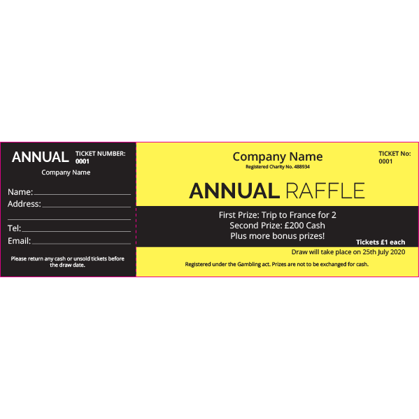 Annual Raffle Ticket (Coloured Paper)