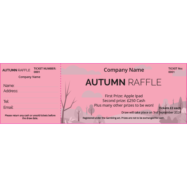 Autumn Raffle Ticket 2 (Coloured Paper)