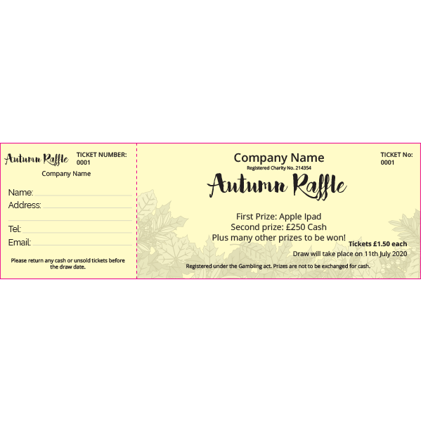 Autumn Raffle Ticket (Coloured Paper)