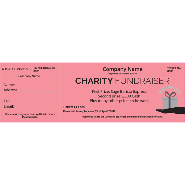 Charity Raffle Ticket (Coloured Paper)