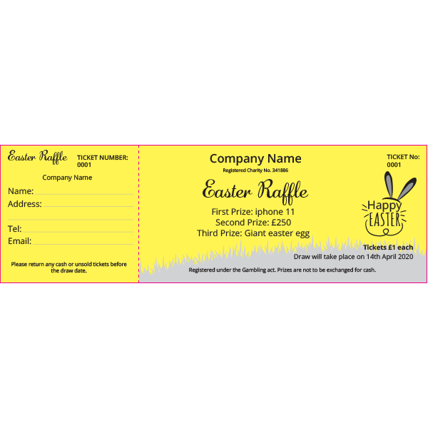 Easter Raffle Ticket (Coloured Paper)