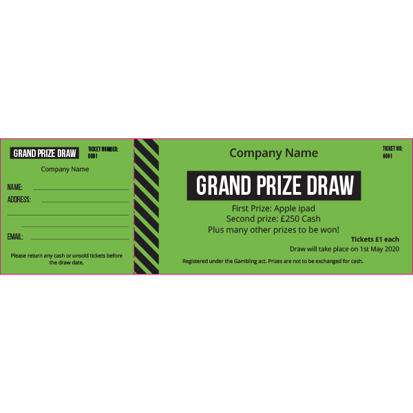 General Raffle Ticket (Coloured Paper)